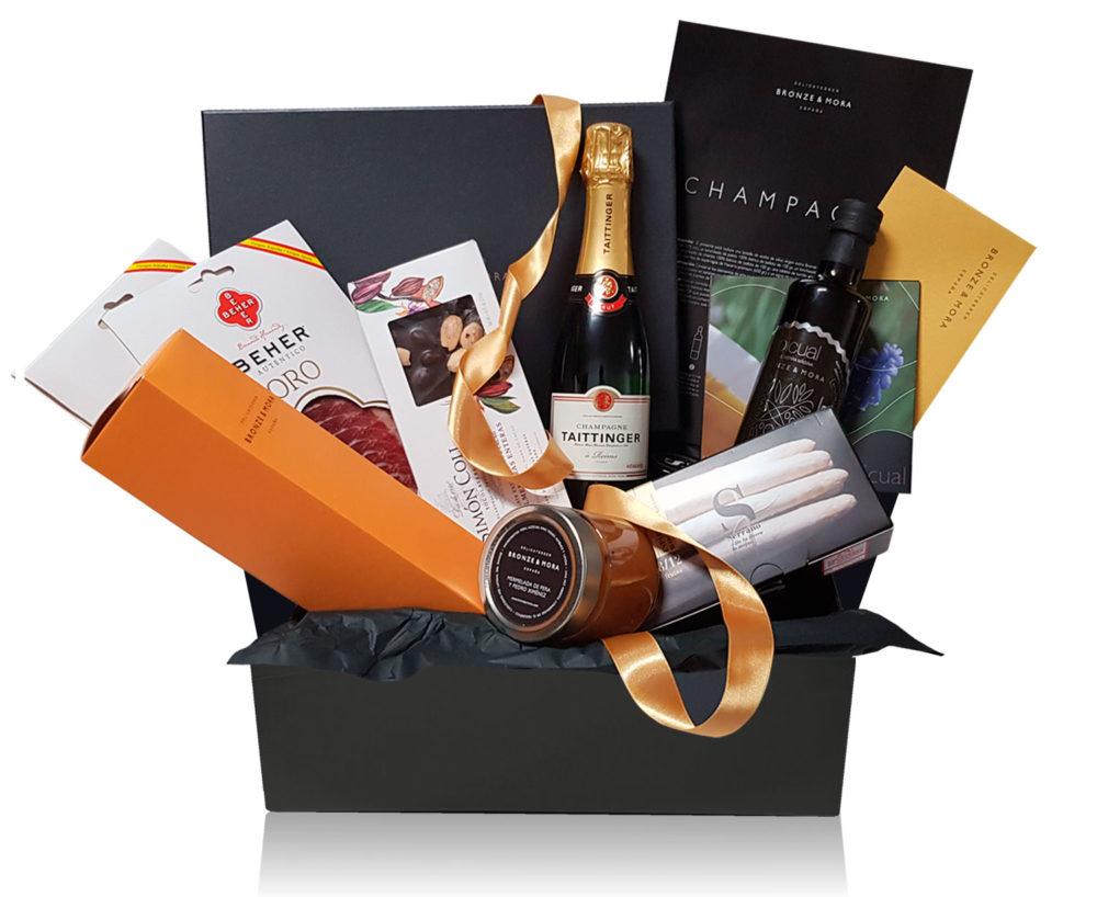 cesta champagne taittinger pack delicatessen bronze y mora