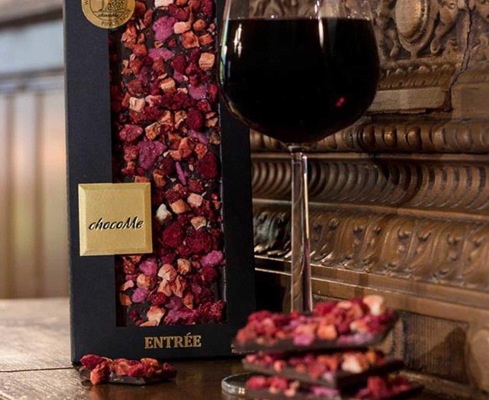lote de chocolate y vino bonze y mora